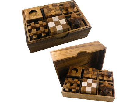 Gift Set of 6 Wooden Puzzles in Box