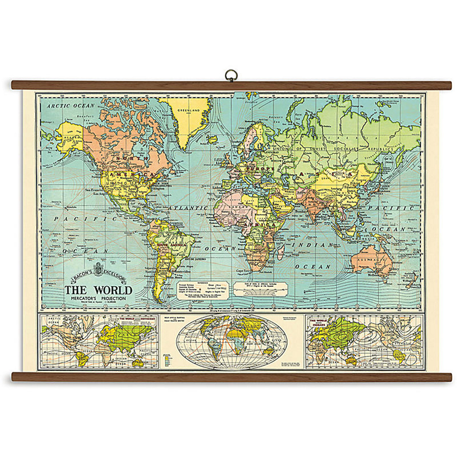 Vintage School Chart- World Map